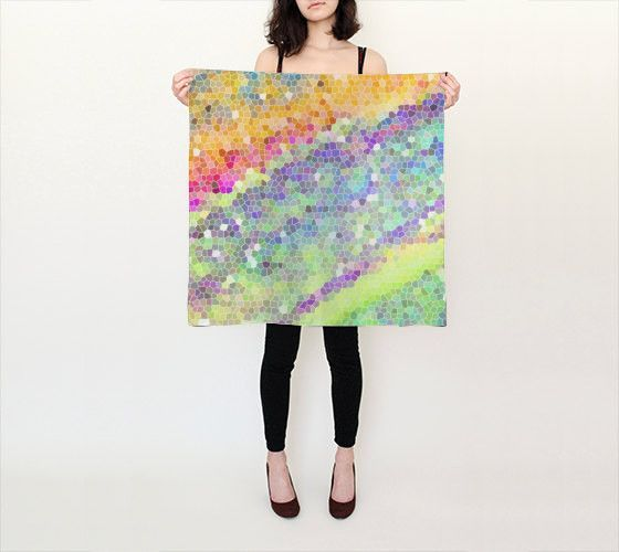 Women's Art Silk Scarf Color Blast 1 Modern photography Spring Summer Fashion green yellow blue purple white pink neon Geometric 1980s style
