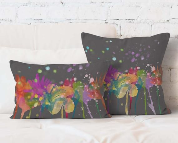 Gray Floral Pillow Watercolor Flowers Decorative Pillow Modern Home Decor Ppdp059 11 Floral Pillows Watercolor Flowers Decorative Pillows