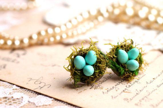 Birds nest earrings robins egg blue birds egg by RubyRobinBoutique, €17.00