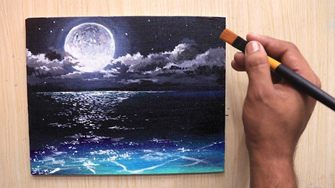 Acrylic Painting Of Beautiful Moonlight Night Sky Landscape Step By Step Youtube In 2020 Night Sky Painting Moonlight Painting Night Painting