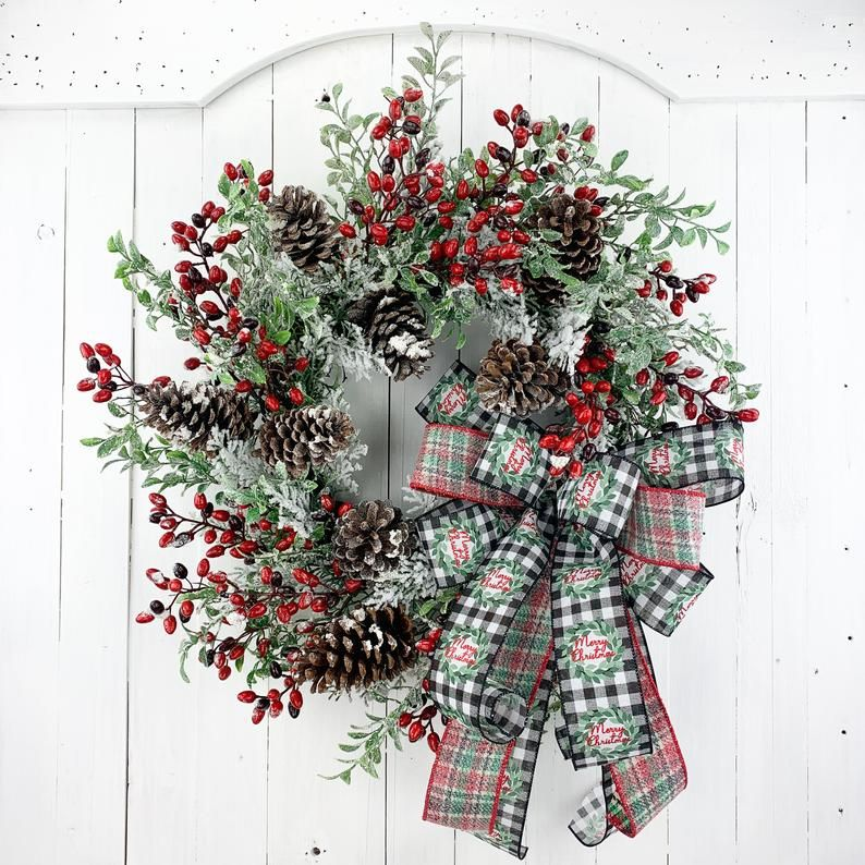 Christmas Wreath For Front Door, Christmas Berry W