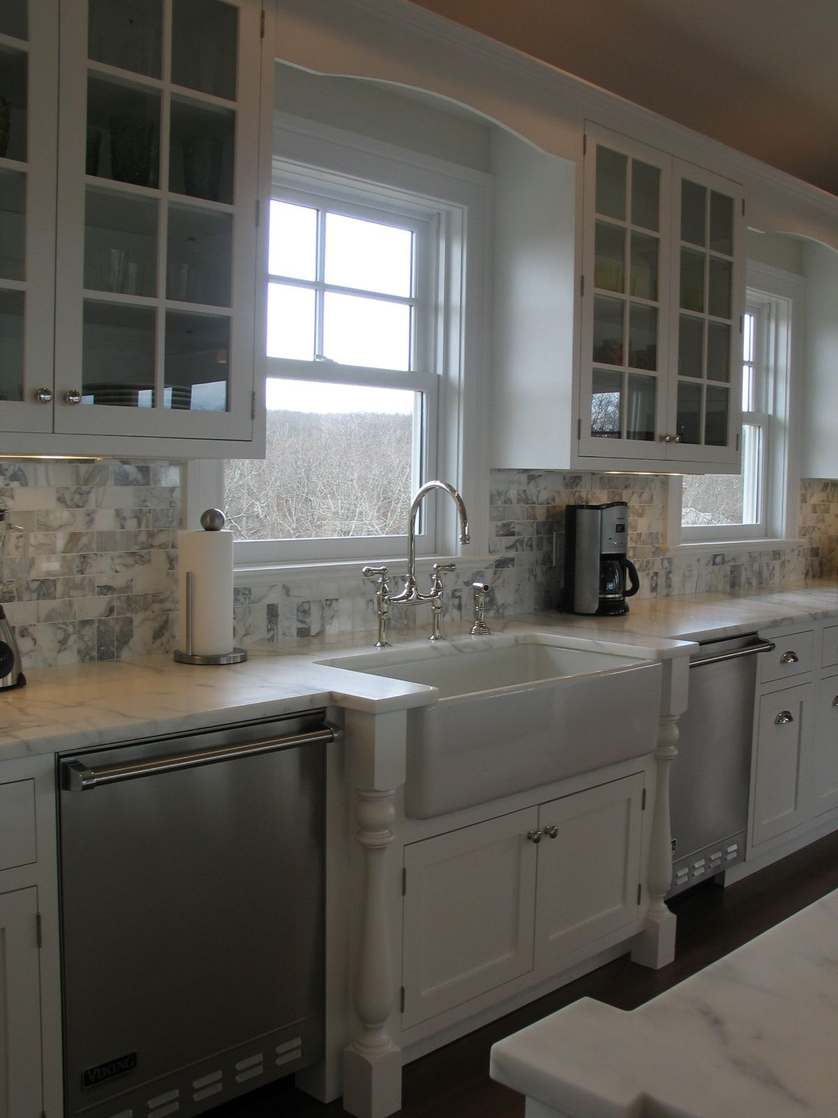 elegant kitchens custom white cabinets built out sink area carrera marble countertops and on c kitchen id=97980
