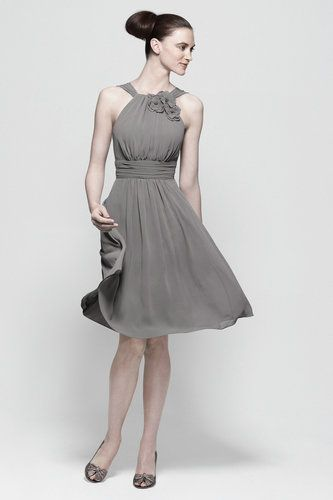 Halter Chiffon Ribbon Knee Length Grey Dress