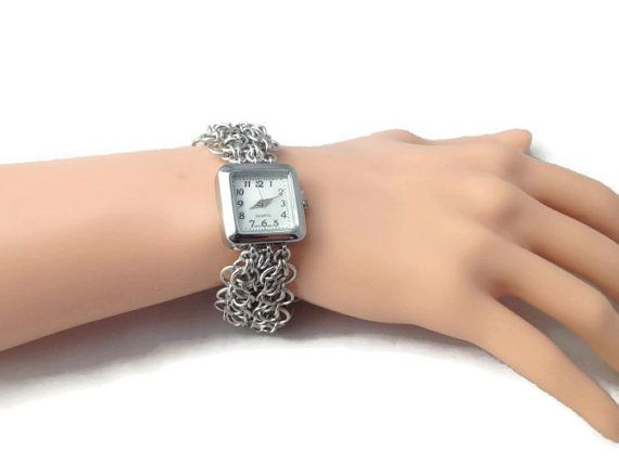 Chainmaille Watch  Bracelet Watch  Elegant Women's Watch by VictoriaxSol