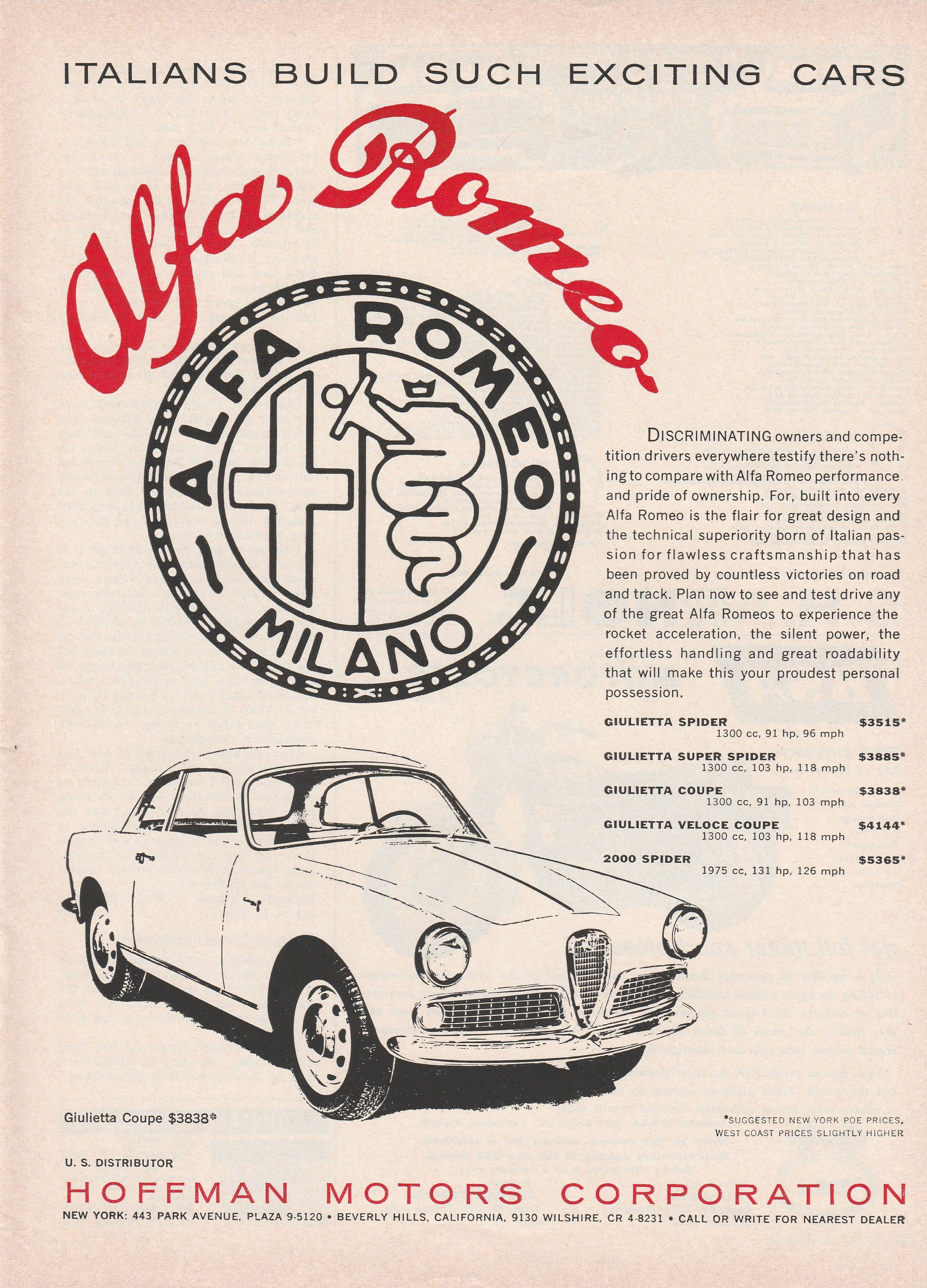 "1959 60 Alfa Romeo ad ""Italians build such exciting cars"