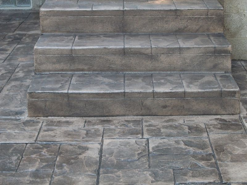 stamped concrete steps after new stairs stamped w ashlar