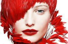 Red Hair & Red Lips High fashion photo by Claus Wickrath
