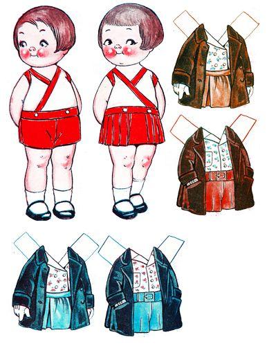 Big eye children paper dolls clipart digital download COLLAGE SHEET printable graphics images