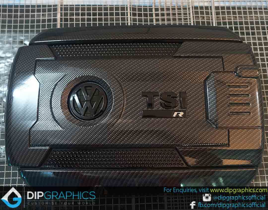 Volkswagen Golf Engine Cover Hydro Dipped in Carbon Fiber 3