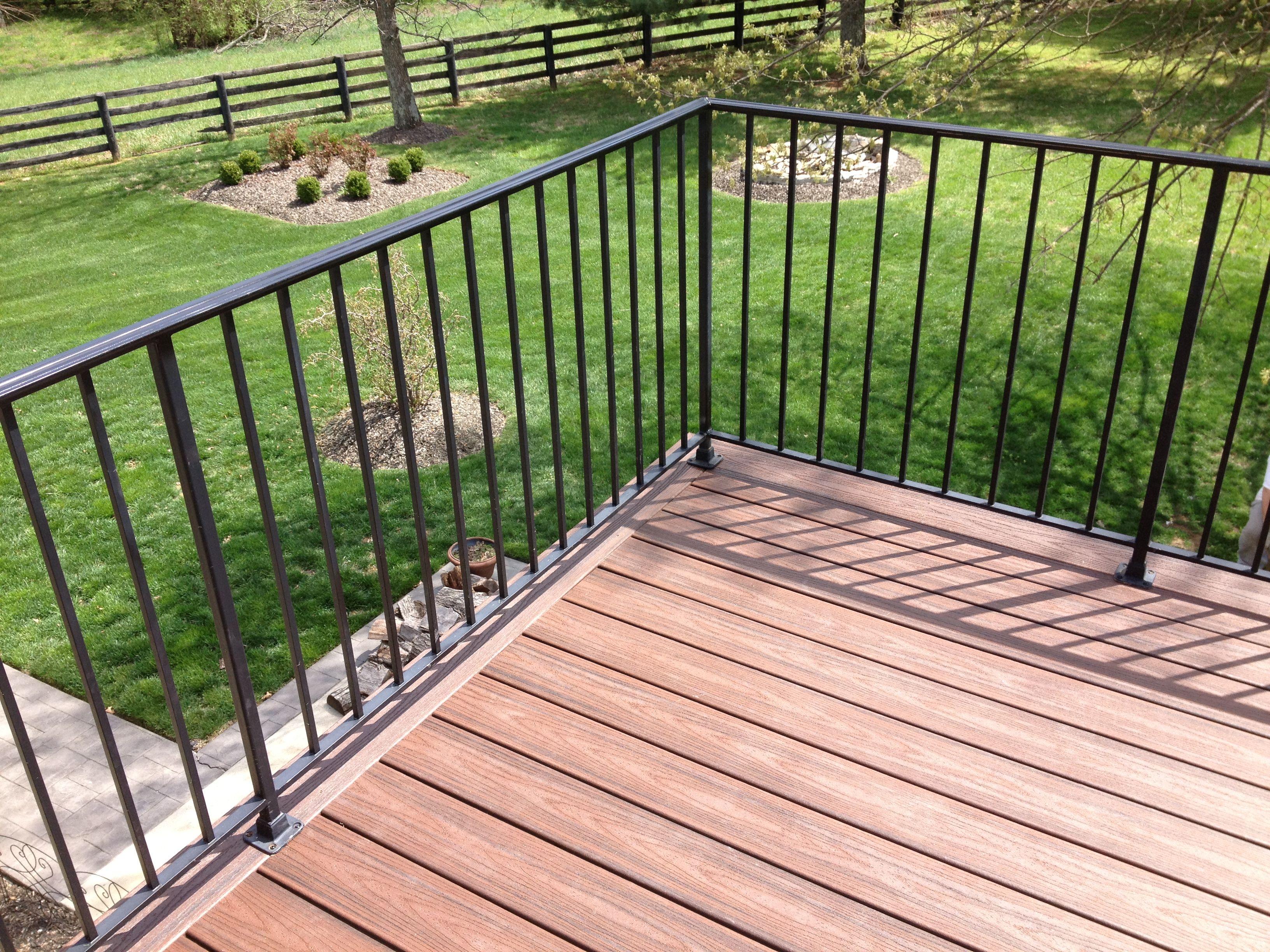 outdoor stair railing metal deck