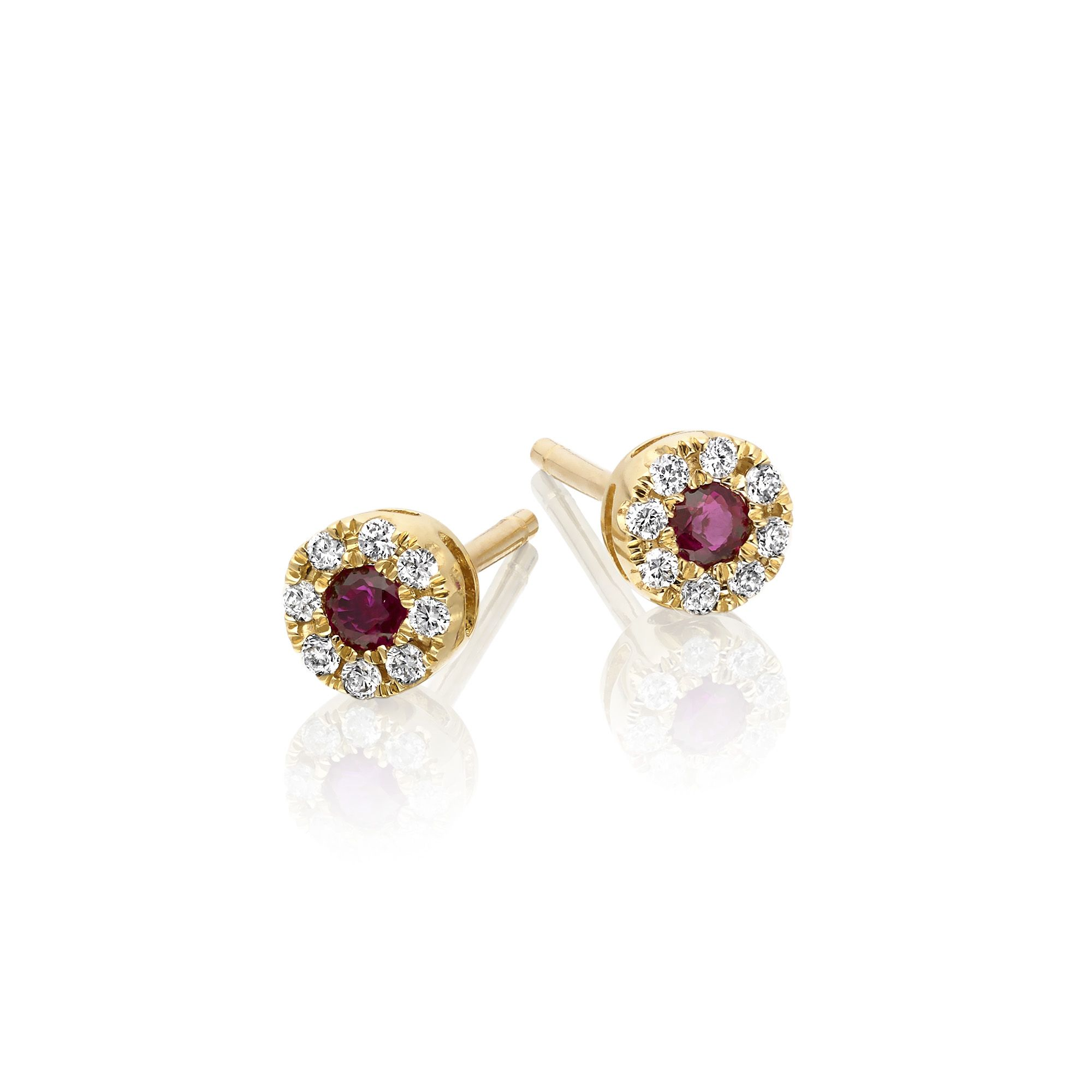 These lovely red ruby and diamond stud earrings feature brilliant