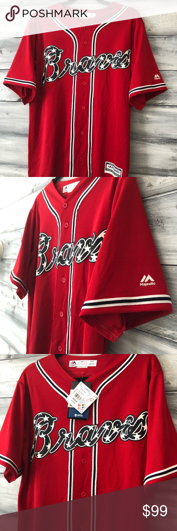 Atlanta Braves Jersey Men S Majestic Cool Base Brand New Men S Medium Authentic Braves Jersey Purchased At With Images Atlanta Braves Jersey Braves Jersey Clothes Design