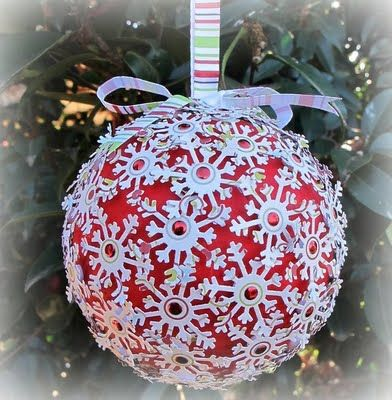 Polystyrene Balls Christmas Decorations Paint A Polystyrene Ball Punch Snowflakes And A Adhere With Glue