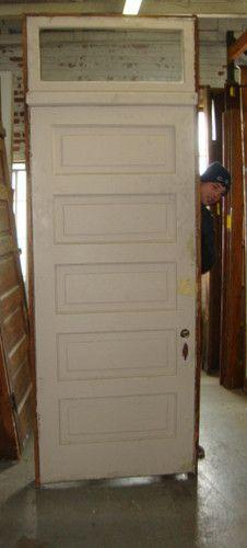 Antique Vintage 5 Panel Door W Transom Jamb 38 25 X 105 2 8 Ebay 5 Panel Doors Doors Interior Panel Doors
