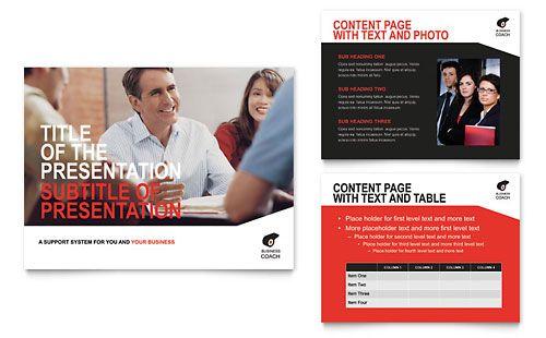 Business Executive Coach  Powerpoint Presentation Template Design