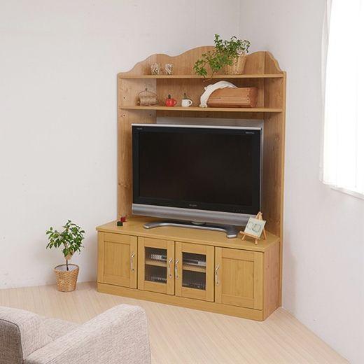 テレビ画面の周りに収納スペースを配置することで 縦の空間を有効活用できるコーナーテレビボード コーナーと壁面 どちらのレイアウトにも対応した2way タイプのハイタイプテレビ台です インテリア ナチュラル コーナー テレビ インテリア 商品