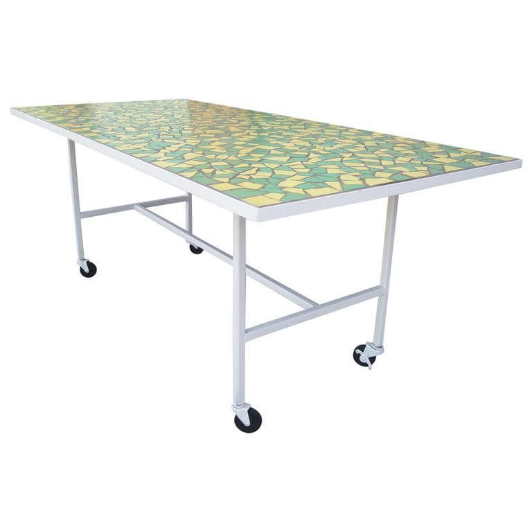 Mid Century Modern Mosaic Top Dining Table