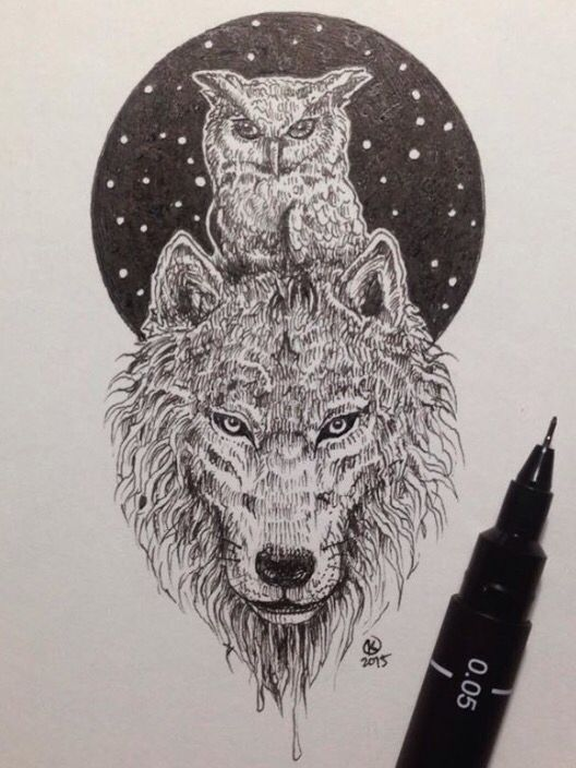 Amazing Owl And Wolf Pic By Kerby Rosanes May Have To Get This As My Next Tattoo Painted Rock Animals Ink Drawing Illustration Pen Art Drawings
