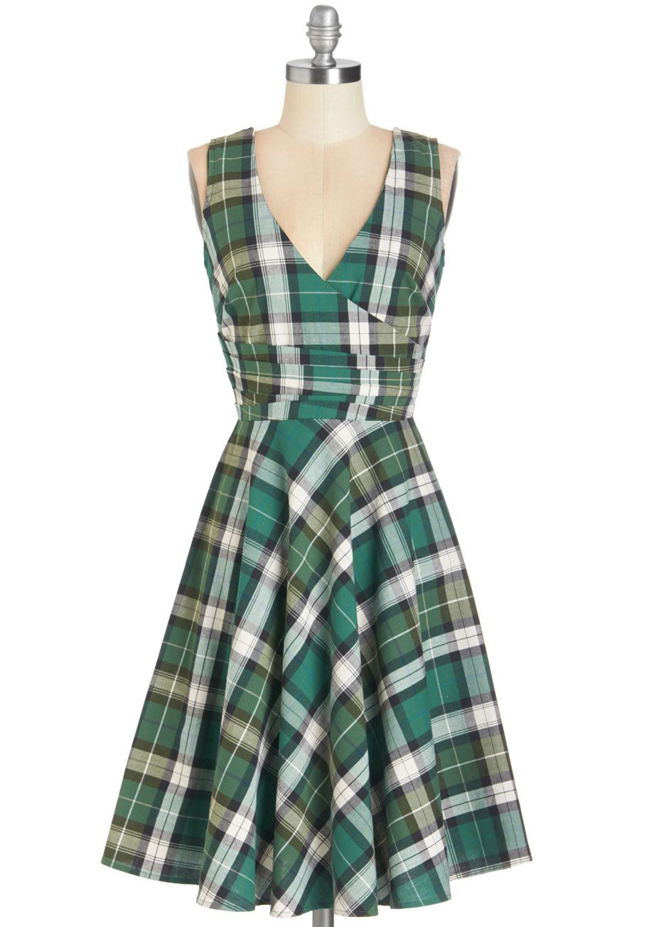Stand Collar Plaid Dress Cute Dress Outfits Plaid Dress Green Plaid Dress [ 1596 x 1200 Pixel ]