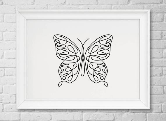 03a075ad0 Butterfly print. Butterfly single line drawng art, Butterfly wall decor  print Minimalist art. Black and white Modern abstract animals poster  INSTANT ...