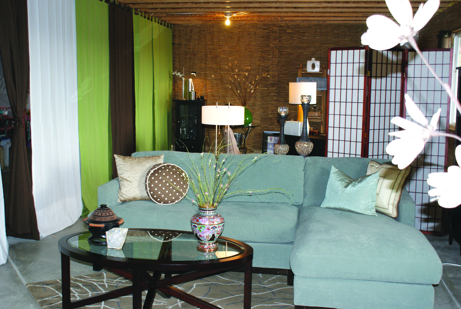 Unfinished Basement Curtain Walls And Oversized Area Rug Movie Room Idea In The