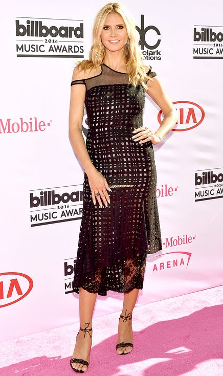 Billboard Music Awards 2016: All the Best and the Boldest Looks from the Red Carpet | People - Heidi Klum in an asymmetrical black midi dress