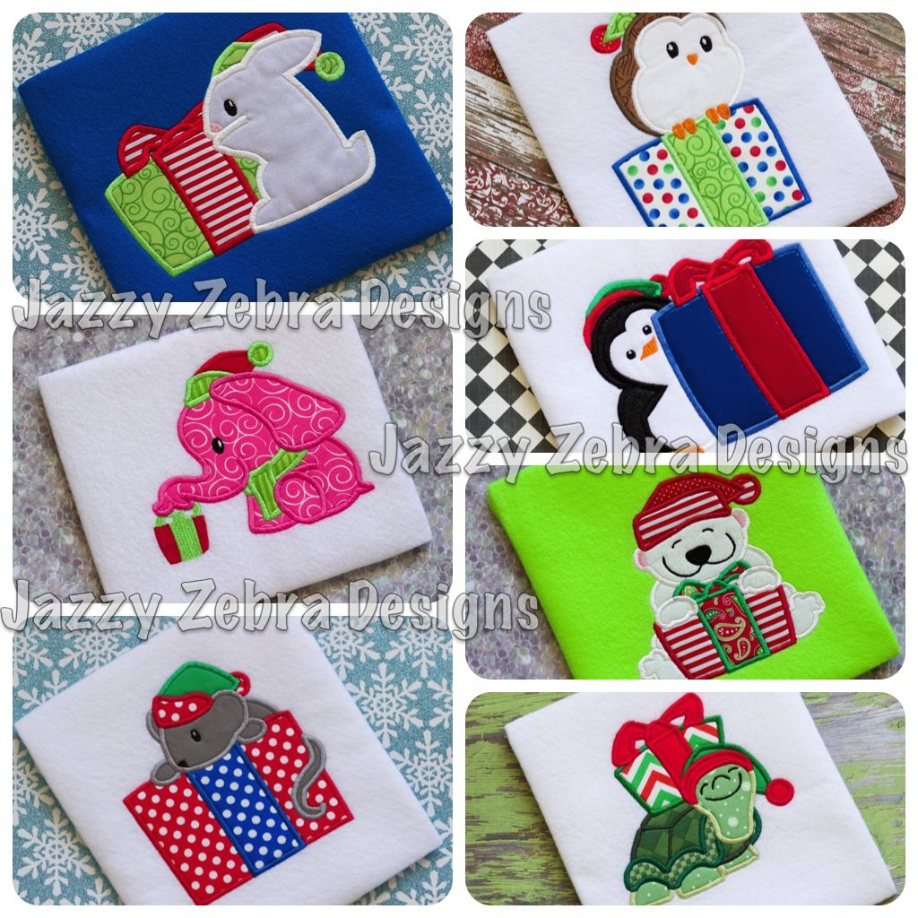 Christmas Animals with Presents Applique Design Bundle Jazzy Zebra