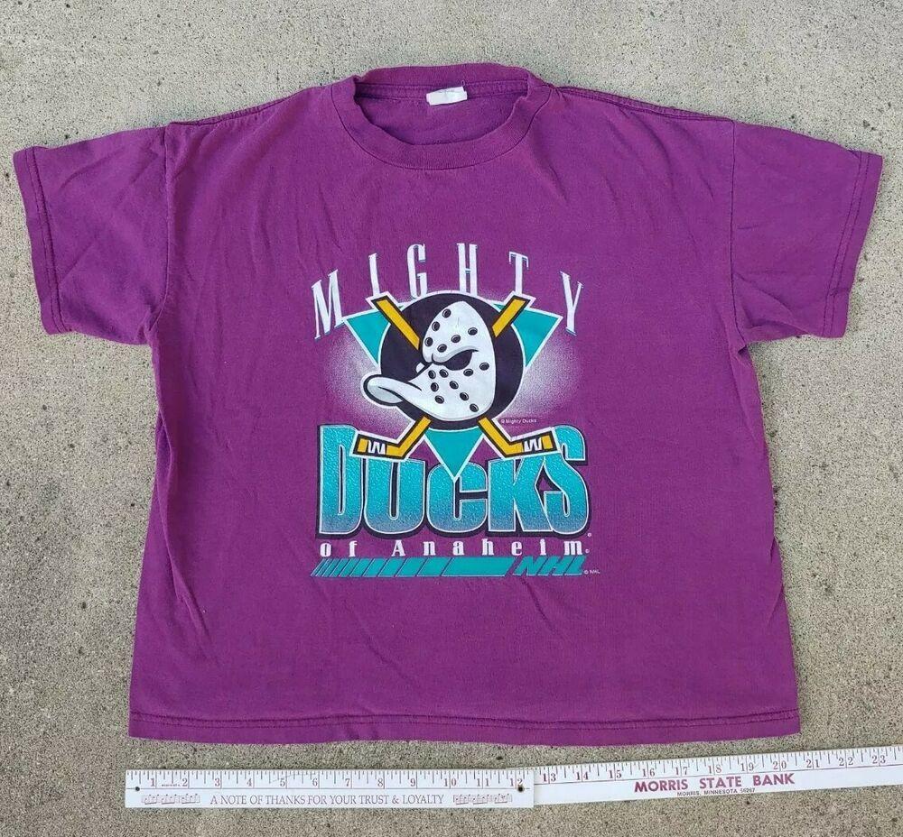 Vtg 90s MIGHTY DUCKS Anaheim California NHL Disney Purple