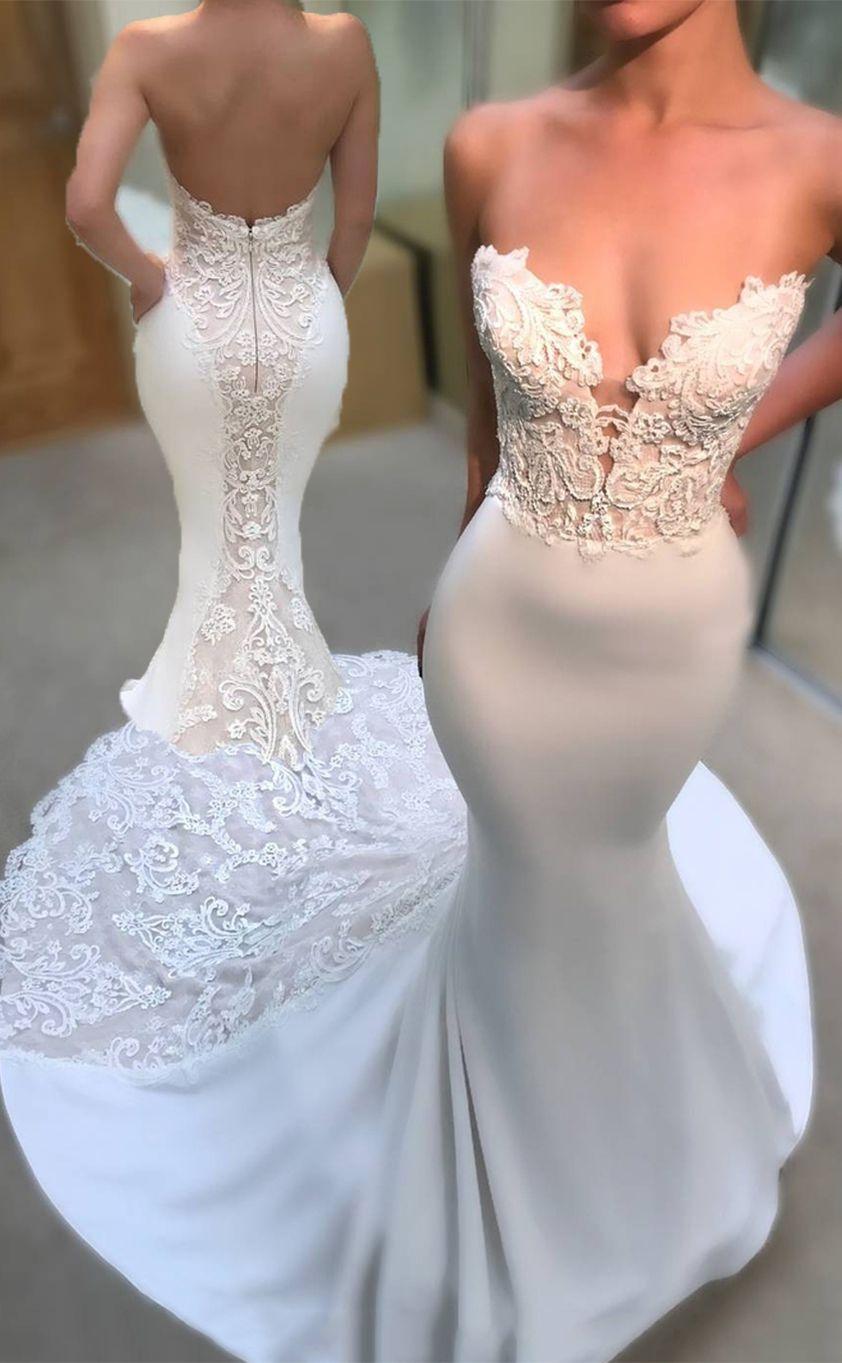 ba68e37e722c 2018 Wedding Dresses Mermaid Sweetheart Spandex With Applique  #WeddingDresses #Mermaid #Sweetheart #Spandex #Applique