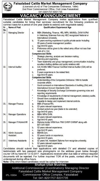Faisalabad Cattle Management Company FCMMC Jobs 2017 For Managers - operations manager job description