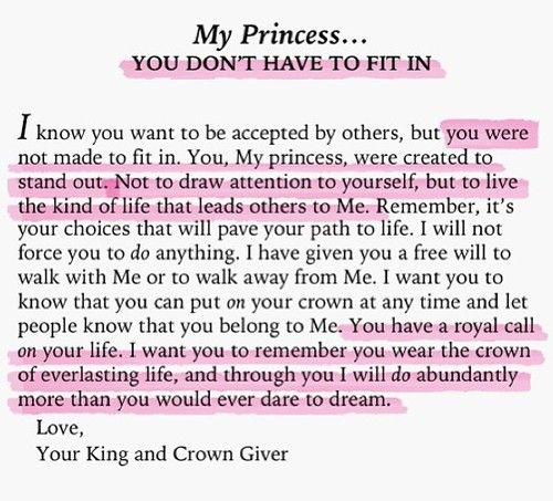 To My Princess... you don't have to fit in