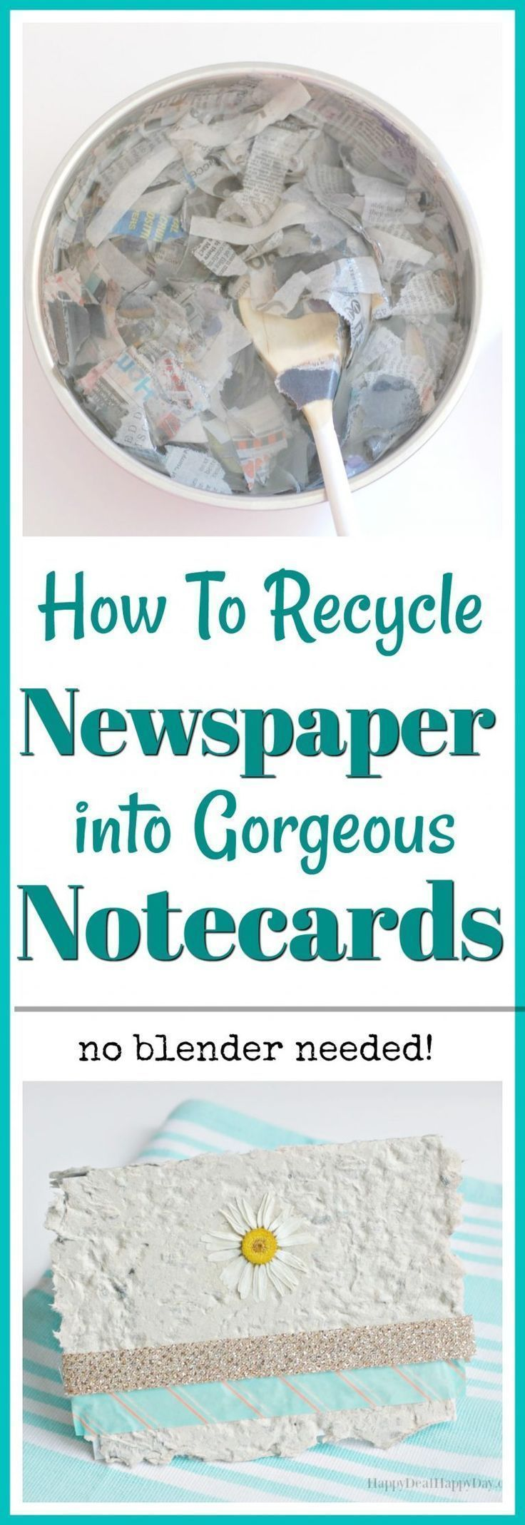 How To Recycle Newspaper Into Gorgeous Notecards - No Blender Needed #recycledcrafts