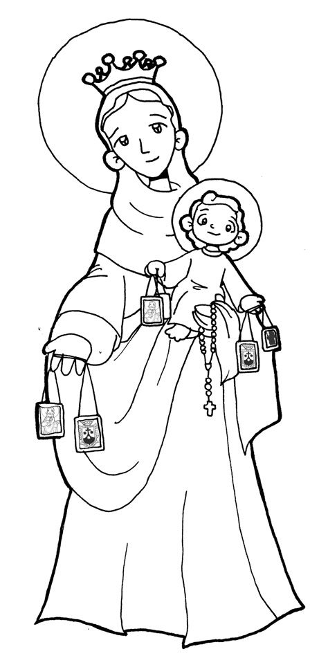Dibujos para catequesis: VIRGEN DEL CARMEN | ejercicios de religion ...