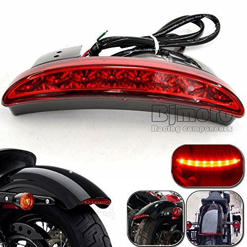 Motorcycle Clear LED Mini Rear Fender Brake Stop Tail Light W// Turn Signals Lamp