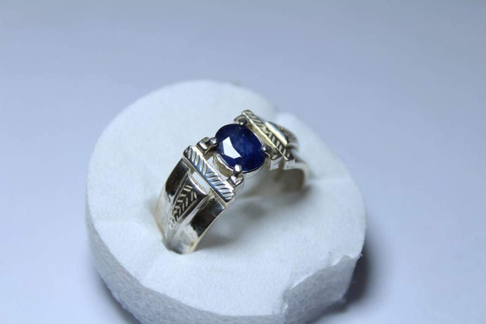 AAA QUALITY STERLING 925 SILVER HANDCRAFT JEWELRY  CEYLON BLUE SAPPHIRE BAND RIN