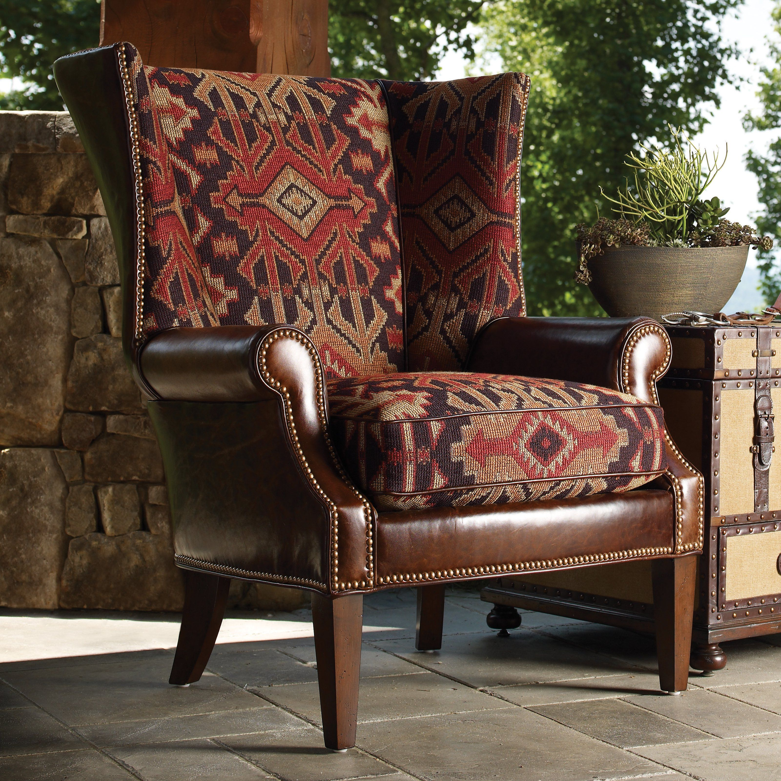 Lexington Home Brands Fieldale Lodge Marissa Leather And Fabric Wing Chair    $ @hayneedle