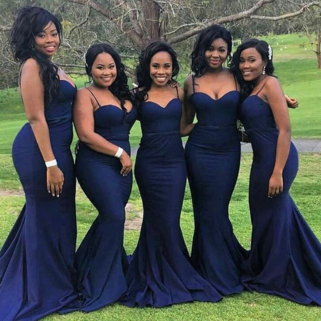 Spaghetti Straps Mermaid Long Navy Blue Bridesmaid Dress