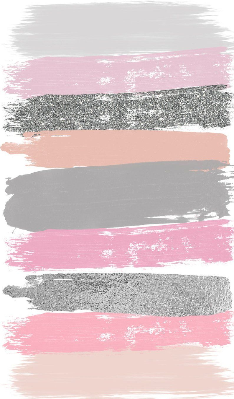 Pink Gray Brush Strokes Clip Art 27 Hand Painted Pink Glitter Etsy Wallpaper Iphone Glitter Pink Poster Bunga