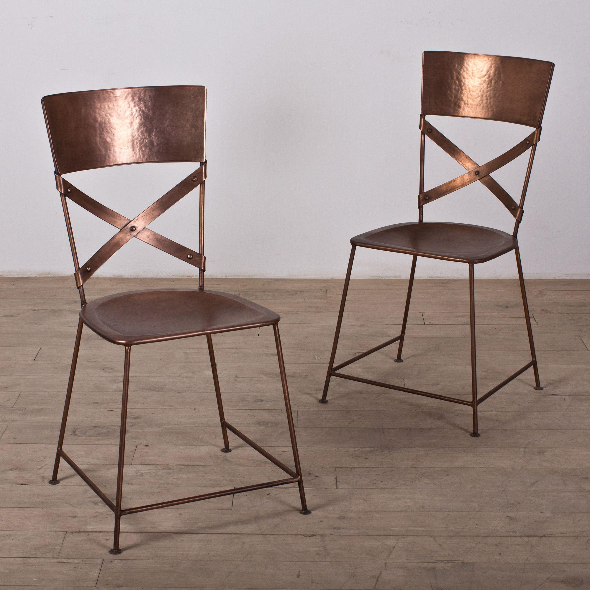 handmade set of two jabalpur dining chair copper (india