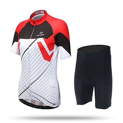 82cd45e23 DuShow his-and -hers Lovers outfit Short Sleeve Bike Bicycle Cycling Jersey  Top And 3D Padded Shorts Tight Set (Red-Women