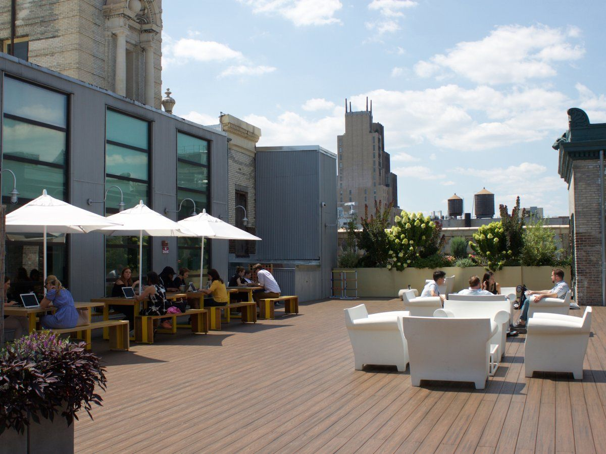 A door on the 7th floor leads to the wifi-enabled roof deck, a favorite common space among employees.