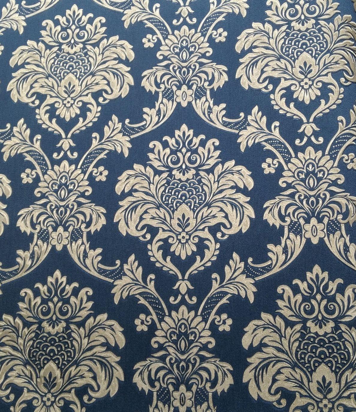 Cl Ssico Flores Sala Papel De Parede Papel De Parede Flores Azuis  -> Papel De Parede Sala Floral