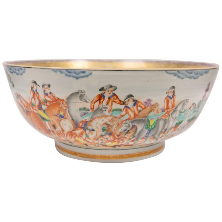 Large Antique Chinese Porcelain Hunt Bowl circa 1770 in 2019 ...