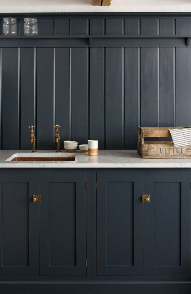 Dark Blue Kitchen With Copper Sink