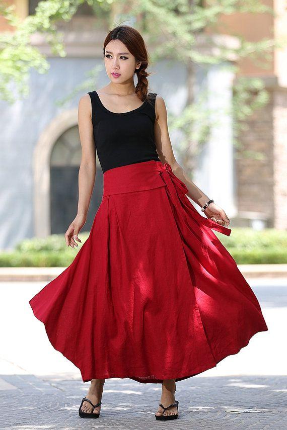 Wrap skirt women skirts linen skirt long skirt high by xiaolizi