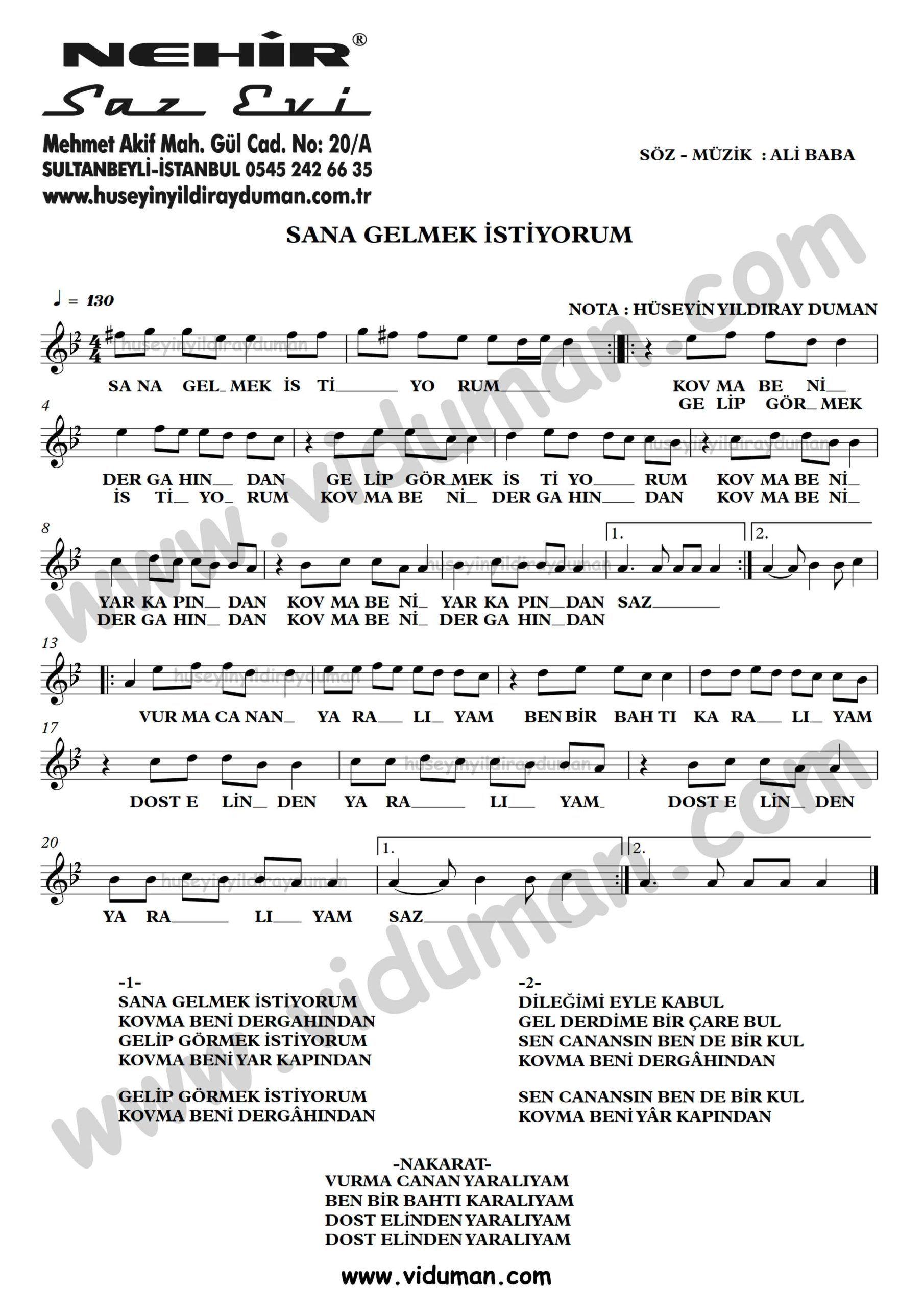 Sana Gelmek Istiyorum Ahmet Kaya Nota Baglama Saz Turku Notalari Muzik Notalari Muzik Calisma