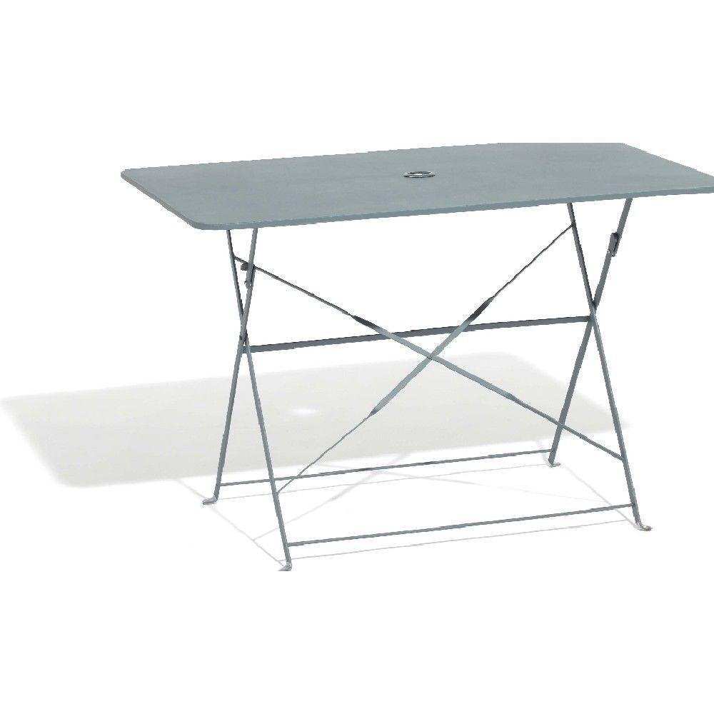 Table de jardin rectangulaire pliante 4 personnes métal gris | Dans ...