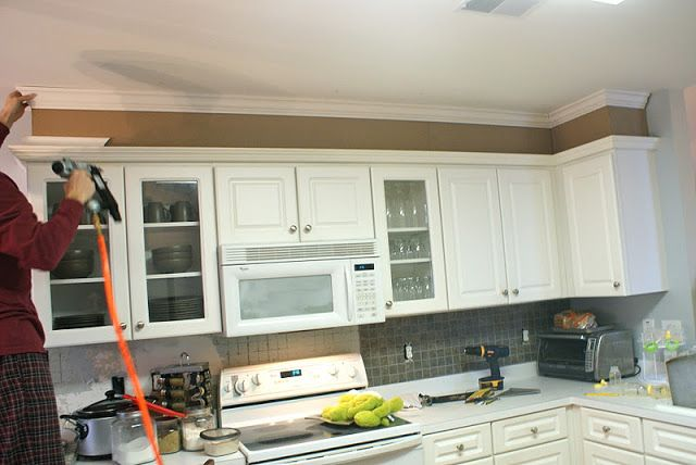 This Link Shows How To Use Mdf Board Build A Bulkhead And Add Crown Molding Adding Height Kitchen Cabinets