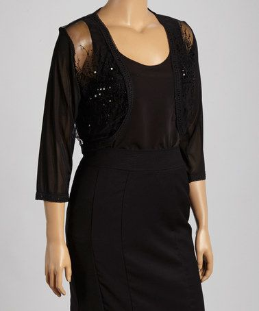 d33eebc8e7d0c Look what I found on #zulily! Black Sheer Sequin Shrug - Plus #zulilyfinds