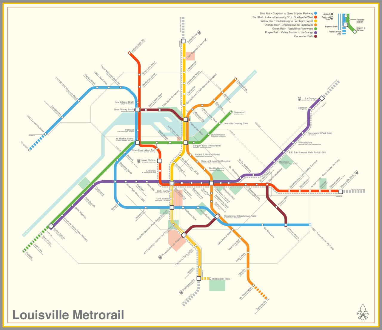 Submission Fantasy Map Louisville Kentucky Metrorail By Marc - Metro rail houston map